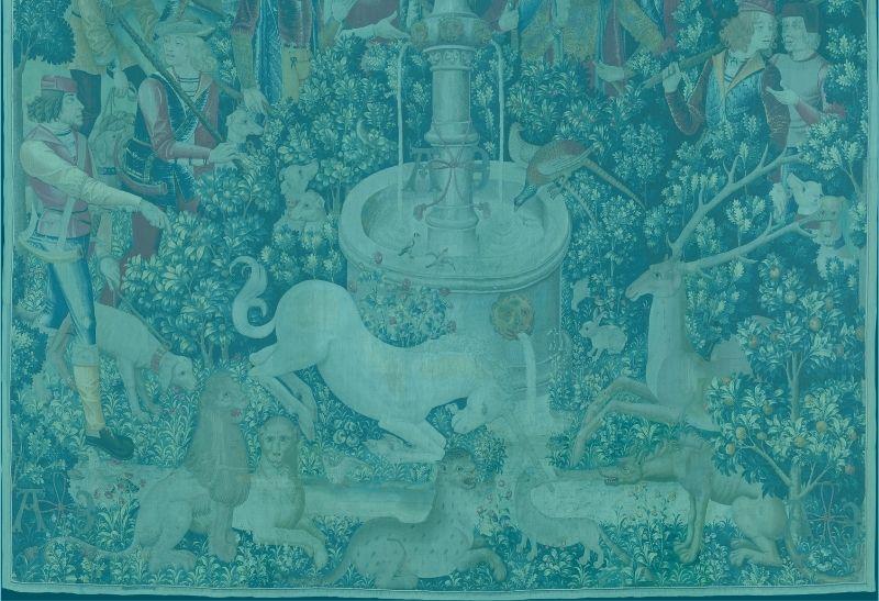 Fabelwesen - Wandteppich Die Jagd nach dem Einhorn